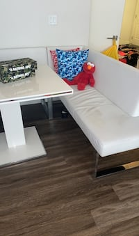 White sectional kitchen table