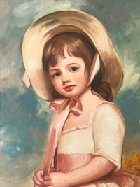 Vintage canvas oil painting of girl shabby chic Denver, 80204