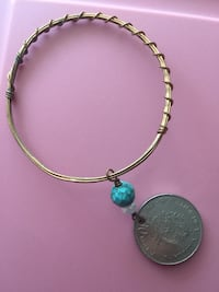 Gold color bracelet with coin charm Benton, 42025
