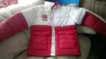 white and red bubble jacket
