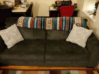 Navy fabric sofa and love seat