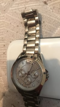 round silver chronograph watch with link bracelet New Westminster, V3M 5K5