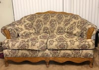 brown and beige floral fabric loveseat 2243 mi