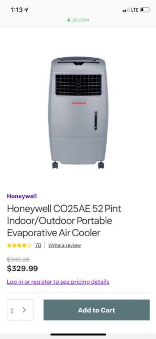 Honeywell 52 pint indoor/outdoor portable Air Cooler