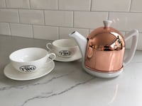 TWG Rose Dome teapot and 2 cup & saucers Vancouver