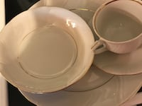 Set of four: White ceramic plate, teacup, saucer, and bowl