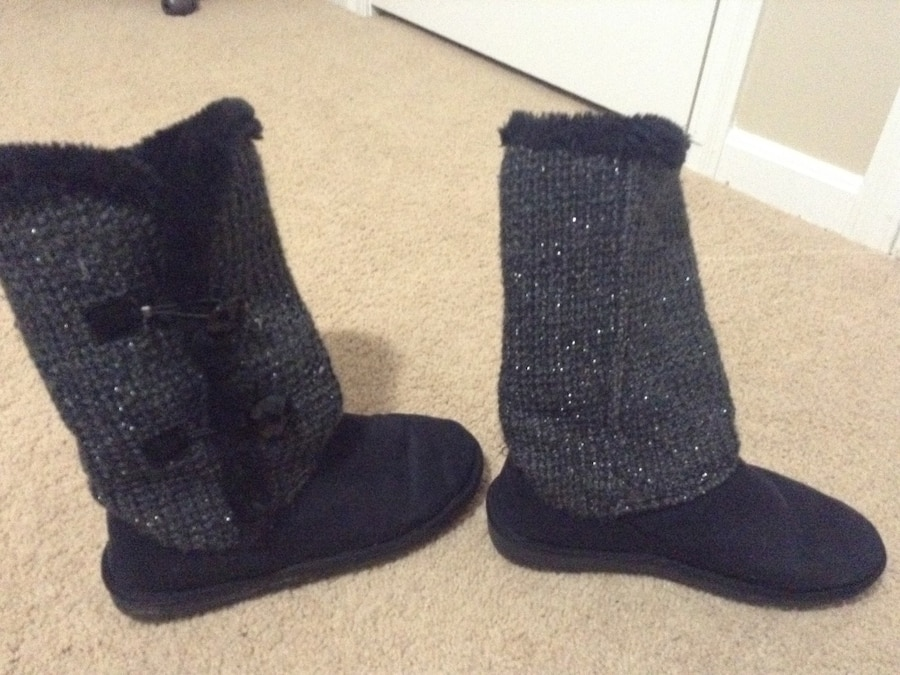 Gray and black glittered mid calf boots