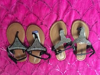 Two pairs of black and brown sandals