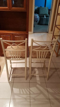 Iron base leather top chairs