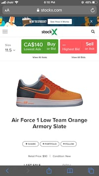 Nike air force 1 TEAM ORANGE ARMORY SLATE