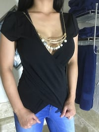 Size small juniors scoop neck black top with attached chain