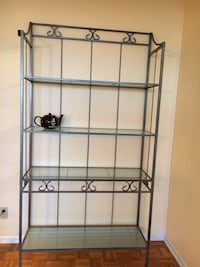 Metal frame glass display bookshelf