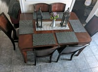 Brown Wooden Dining Table 6 pc