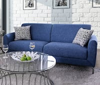 Brand New Lauritz Blue Linen-Like Fabric 2-Seat Sofa by Furniture of America Лос-Анджелес