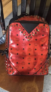 red and black leather MCM monogram backpack Decatur, 30034
