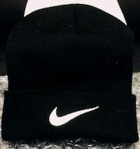 NIKE Black Knit Winter Hat With Hand Stitched Logo