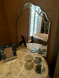 Set of mirror, frame and coasters Allen, 75013