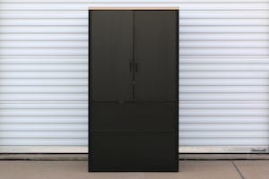 Hon Black Wide Cabinet w/ Opening Doors & Pull Out Drawers