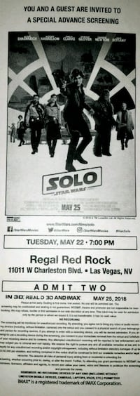 SOLO [STAR WARS] Premier Movie Screening Las Vegas, 89166