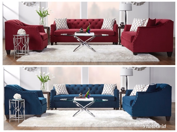 Red or blue velvet tufted sofa with nailhead accent