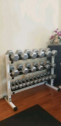 Hex iron dumbbells w/rack Falls Church, 22043