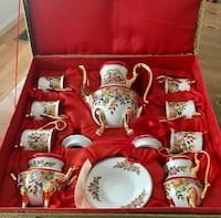 "Set of 6 Red White Gold Porcelain ""Espresso"" Coffee Demitasse Cups Saucers & Pot Mc Lean, 22101"