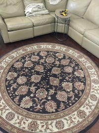 8' diameter Round cream, tan , and brown floral area rug Crescent City, 32112