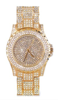 round gold-colored analog watch with link bracelet New York, 11356