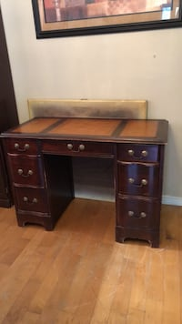 brown wooden single pedestal desk Selden, 11738