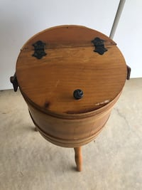 Vintage Sewing Box on Stand / Wooden Barrel