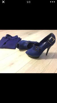 Womens Cobalt Blue Suede Shoes Peep Toe Size 7.5