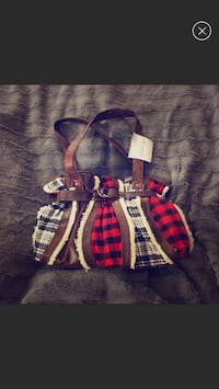 New w/ Tags Flannel & Leather Satchel