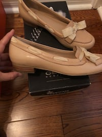 beige leather boat shoes