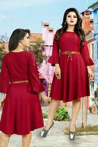 women's red long sleeve dress Rampur, 244901