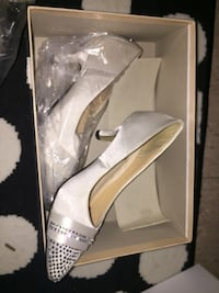 pair of gray suede heeled shoes with box Perth Amboy
