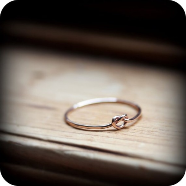 Rose gold knot ring - thin 14K rose gold filled promise ring 0