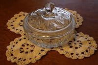 Lidded candy dish and doily
