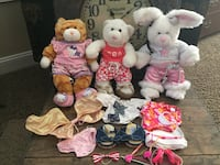 LIKE NEW BUILD-A-BEAR COLLECTION.  ENTIRE LOT FOR $30. COMES FROM A VERY CLEAN HOME.  PRICE FIRM.  Calico Cat, Teddy Bear, Bunny Rabbit.  5 outfits and accessories. Great for a Gift. Build a Bear. Rancho Santa Margarita, 92688