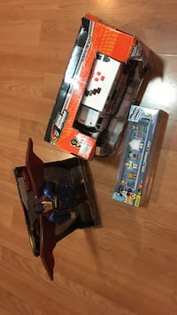 Three assorted toys new box damage on one