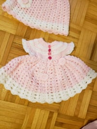 white and pink knitted cap-sleeved dress Markham, L6B 1B5