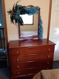 brown wooden dresser and brown wooden framed wall mirror Franklin, 15370