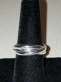 3 Solid Silver Rings Linked 925 Sterling Silver Hallmarked Size 8