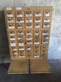 Vintage Wood  Card Catalog Library null