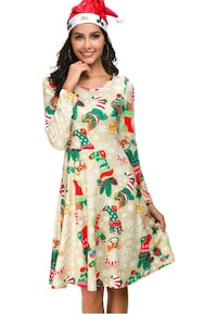 Women's Christmas Santa Elk Ugly Flared Casual Print Party Dress 2240 mi