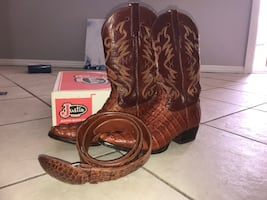 Brown leather cowboy boots with box men's
