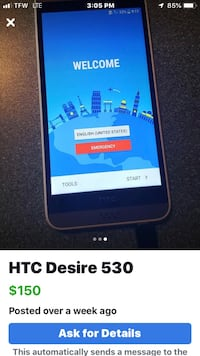 HTC desire 530 for Verizon and unlocked and set up for brand new user great phone price to sell quick asking $60 firm Millport, 14864