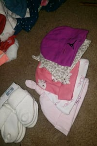 0-6 months girl hats and NB socks.  Fayetteville, 28301