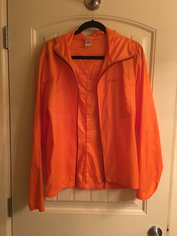 orange zip-up jacket