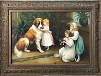 "Large Wall Hanging Artwork Dogs Girl Assorted Oils on Canvas 24"" x 36"" Artist N. Keare Crofton, 21114"