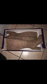 Pair of brown suede chunky heeled knee-high boots size 9